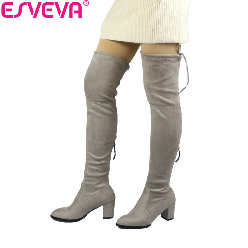 Over The Knee Boots Winter Round Toe Warm Women Boots Short Plush Stretch Fabric Boots Big Size - Shoes