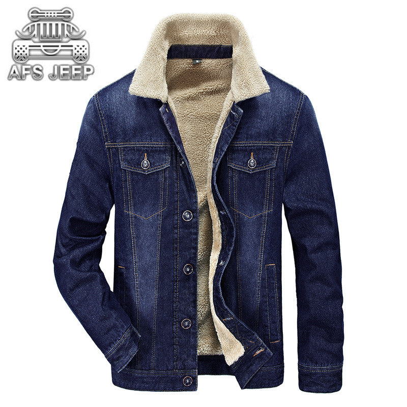 Winter Men Jackets Jeans Warm Thick Coat Fur Inside Windbreak Comfortable Soft Material Jacket