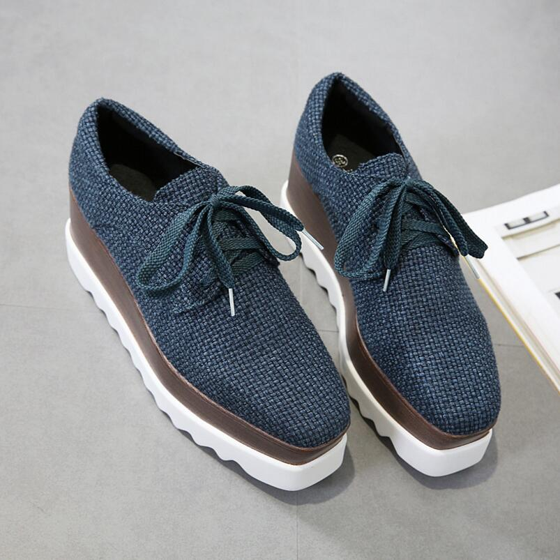 92ffc963059a ... Canvas Flat Platform Autumn Shoes Women Round Toe Lace-Up Platform  Oxford Shoes Creepers ...