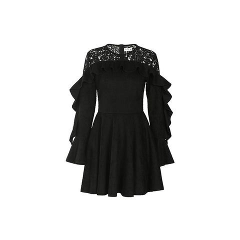 Gracegirl Winter Dresses Series Spring Black Lace Patchwork Velvet Bodycon Ruffles Tunic Dress - Clothes