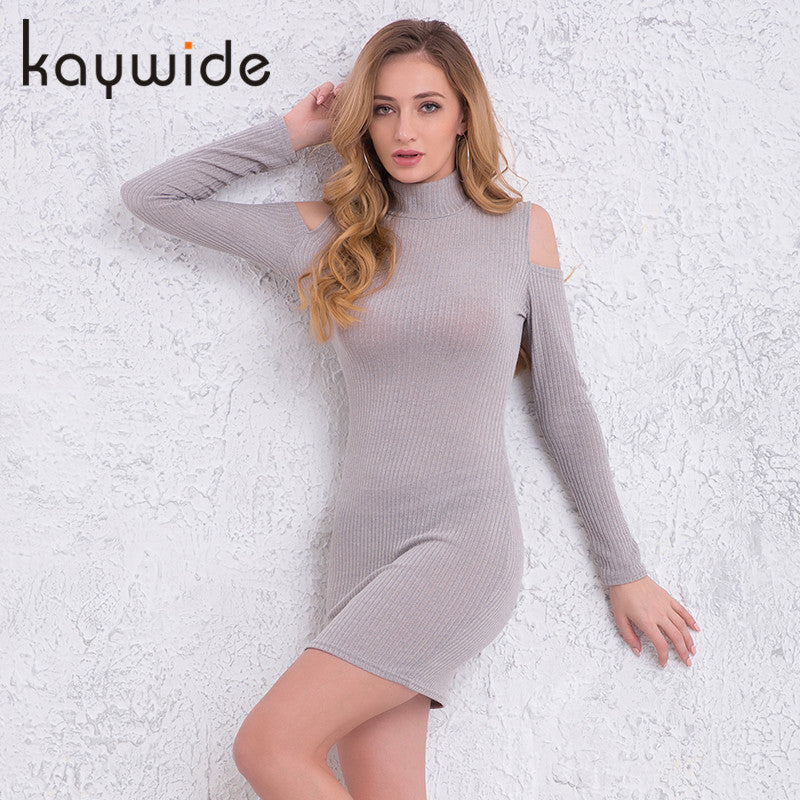 Kaywide Rib Winter Dress Turtleneck Off Shoulder Sexy Dresses Full Sleeve Bodycon Sweater Dress