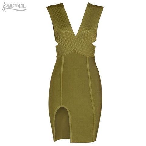 ADYCE Spring Party Dress Olive Green White V-Neck Backless Hollow Out Splitted Celebrity Bandage Dress