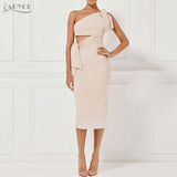 Bandage Spring Party Dress Casual Red Black Apricot One Shoulder Tassel Celebrity Runway Dress