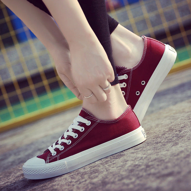 Women Canvas Shoes Low Breathable Solid Color Flat Shoes Casual White Leisure - Shoes