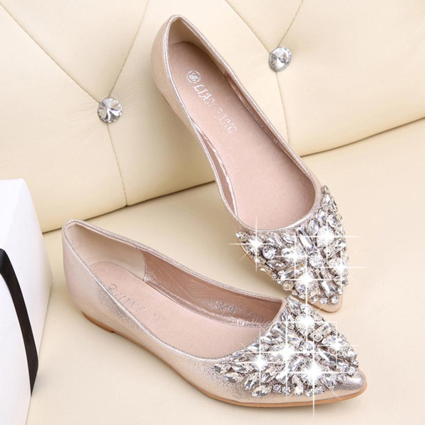 SUMMER STYLE Flats Shoes Women Pointed Toe Soft Heel Shoes Rhinestone Flats - Shoes