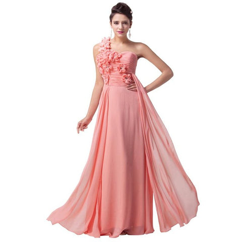 Grace Karin Long Evening Dresses Pink White Turquoise One Shoulder Chiffon Formal Gowns Dresses