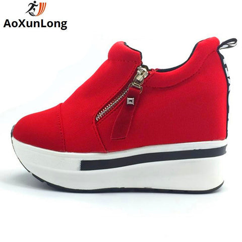 Genuine Leather Winter Boots Warm Plush Autumn Boots Wedge Shoes Woman Ankle Boots - Shoes