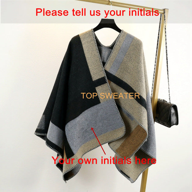 Women Poncho Prorsum Cashmere Wool Scarf Monogramed Cape Plaid Winter Check Blanket