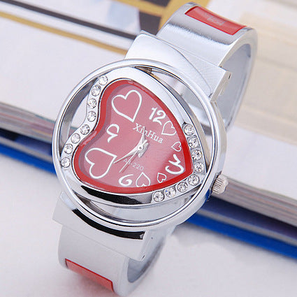 Heart Shape sports wristwatch ladies bracelets bangles quartz watch women casual watches - Jewelry