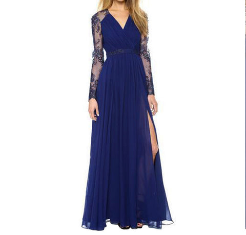 Sexy Blue Summer Elegant V Neck Long Lace Sleeve Fitted Dress Slimming Chiffon Split Maxi Dress