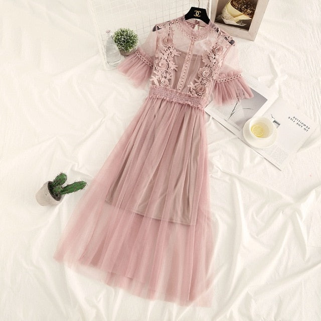 Elegant Vintage Sweet Lace Floral Pink Dress Sheer Casual Trunic Mesh Streetwear Dresses Vestidos
