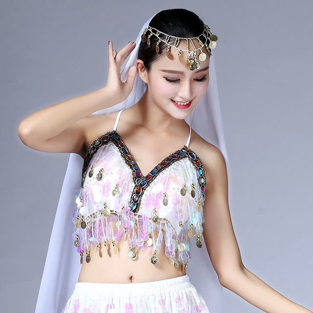 Women Sequin Halter Bra Salsa Belly Dance Boho Tribal Colorful Beading Coins Tassel Lace-Up Cami Tops