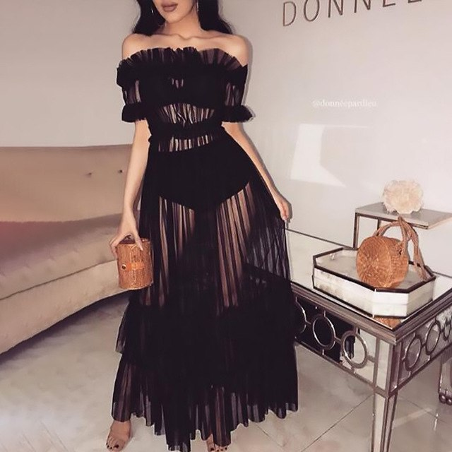 Sheer Mesh Maxi Dress Off Shoulder Summer Dress Night Club Sexy Party See Through Long Dresses