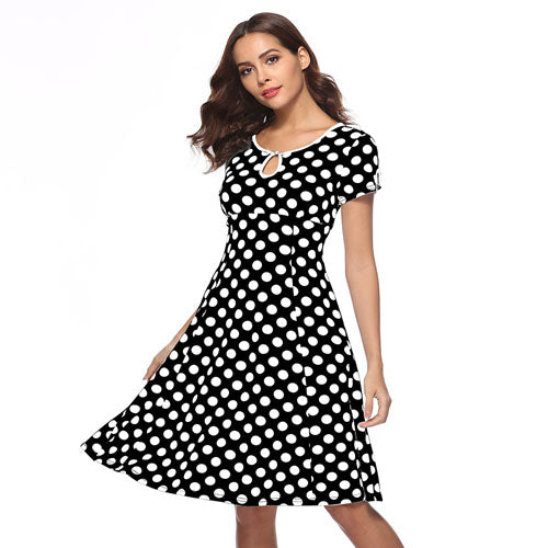 Vintage Red Polka Dot A Line Casual Summer Dresses Women Party Office Dress White Midi Dress