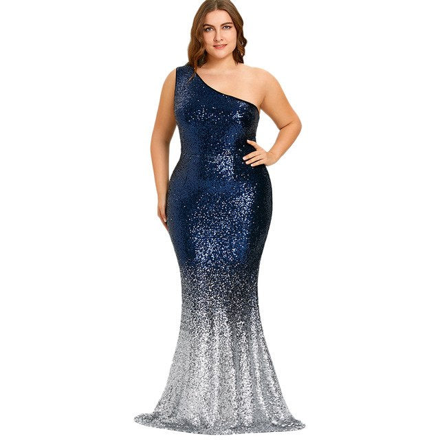 Plus Size Mermaid Dress One Shoulder Sleeveless Sequined Women Floor-Length  Party Long Dress