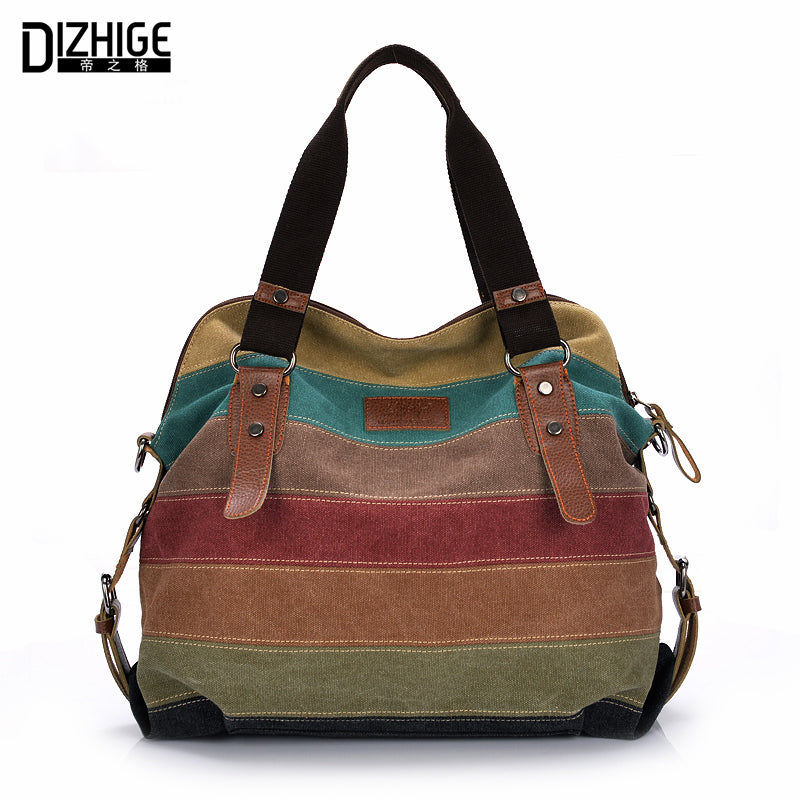 Women Handbag Canvas Shoulder Messenger Crossbody Bags Satchel Hit Color Striped Casual Tote