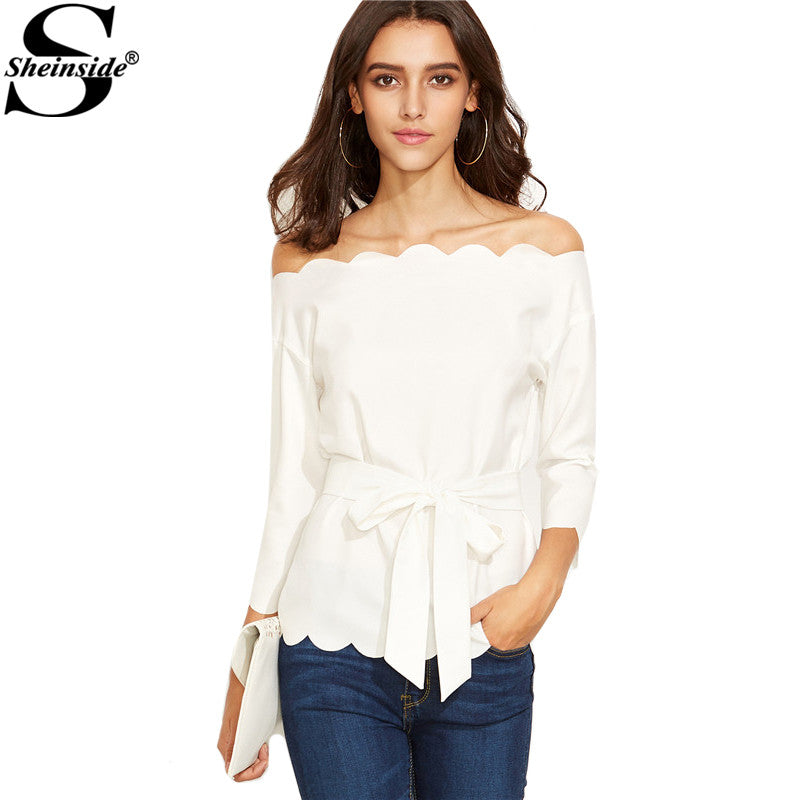 Sheinside White Belted Scallop Trim Off Shoulder Top Autumn Solid Long Sleeve Vogue Blouse