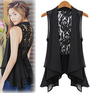 Chiffon Lace Shirts Blouses OL Lady V Collar Sleeveless Sexy Backless Club Cardigan Waistcoat