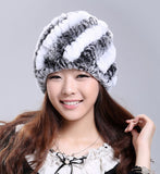 Luxury Genuine Real Knitted Rex Rabbit Fur Hats Handmade Lady Warm Caps Female Beanies Headgear