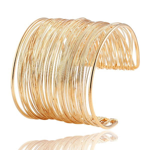Punky Style Hollow Cuff Retro Braid Big Gold Color Bangles Charm Vintage Multilayer Wide Bracelet - Jewelry