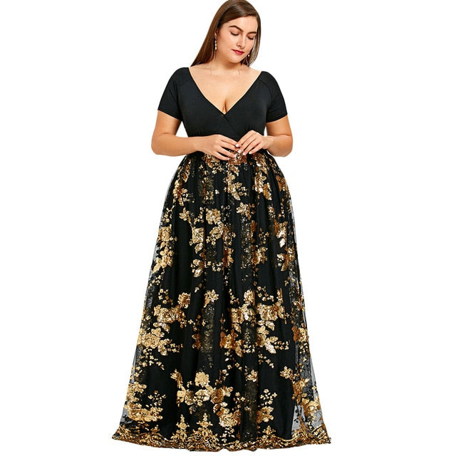 eaeedb00a7b54 Floral Sparkly Long Maxi Dress Design Plus Size V-Neck Robe Evening Party  Dresses Women Elegant Long Vestidos