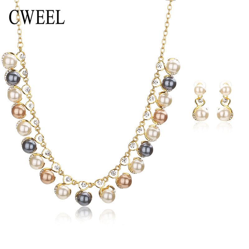Simulated Pearl Jewelry Sets Pendant Wedding Necklace Earrings African Beads Bridal Party - Jewelry