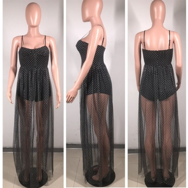 Sheer Lace Dress Dot Print Spaghetti Strap Sleeveless Floor Length Transparent Split Long Slip Dress Black Ropa