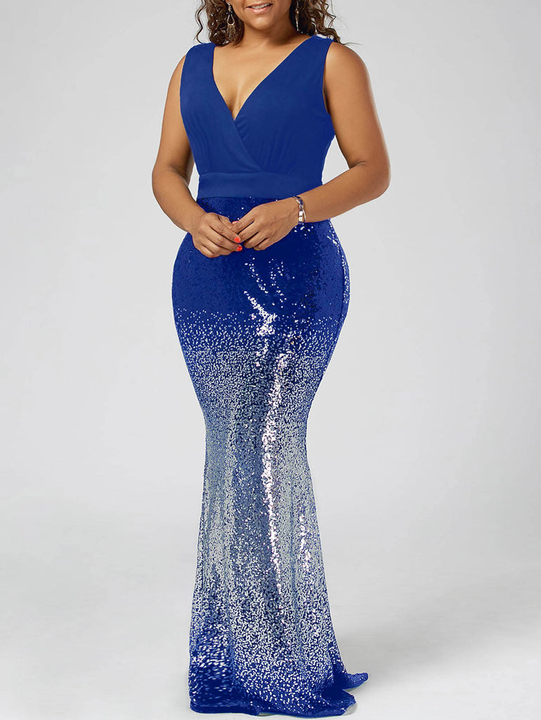 Sequins Royal Blue Formal Party Dress Women Plus Size Sleeveless Club Robe Sparkly Casual Long Maxi Dresses