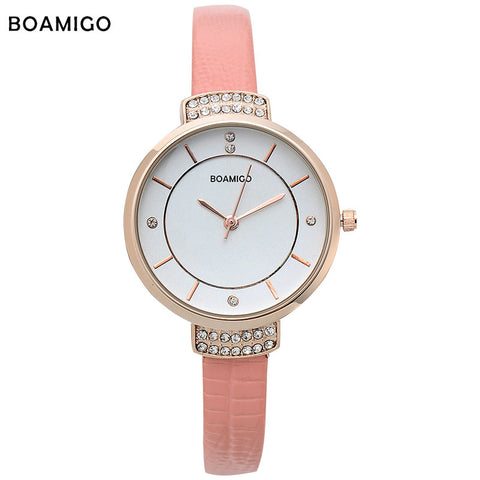 MEGIR Casual Women Watch Rose Gold Diamond Crystal Watches Chronograph & Auto Date