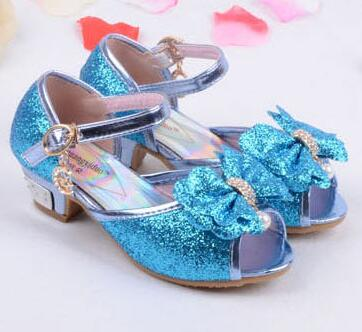 Mules Shoes Summer Princess Sandals Kids Girls Wedding Shoes High Heels Leather Bowtie Shoes