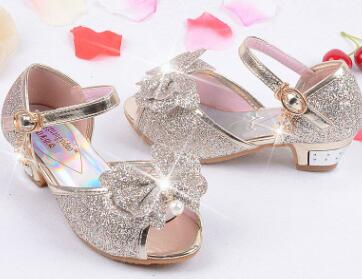 ... Mules Shoes Summer Princess Sandals Kids Girls Wedding Shoes High Heels  Leather Bowtie Shoes ...