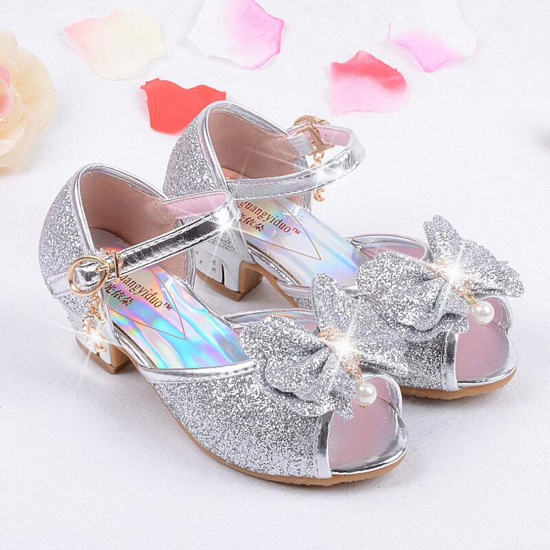 a76a5e60c175 ... Mules Shoes Summer Princess Sandals Kids Girls Wedding Shoes High Heels  Leather Bowtie Shoes ...