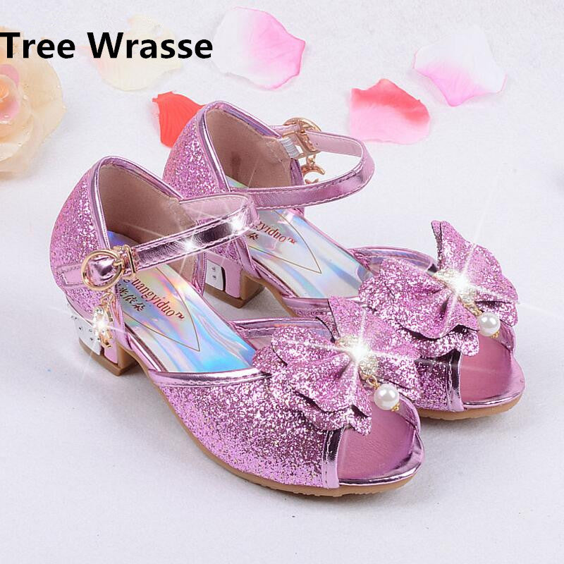 Mules Shoes Summer Princess Sandals Kids Girls Wedding Shoes High Heels  Leather Bowtie Shoes ... 148e7f086959