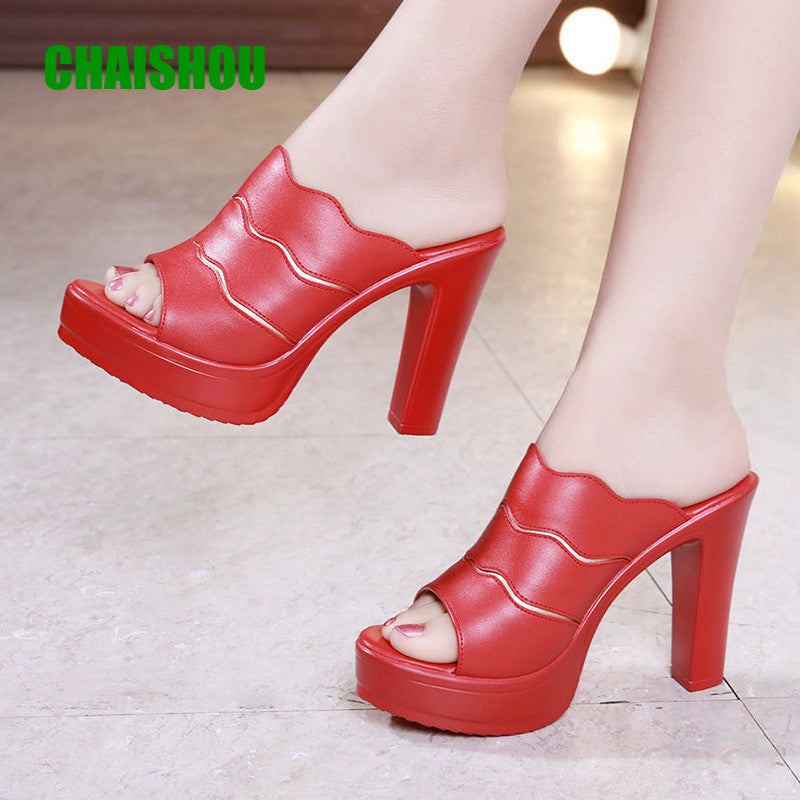 Women Sandals Summer Plus Size Super High Heel Slippers Fish Mouth Toe Platform High Heel