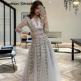 Woman Embroidery Mesh Dress Long Sleeve V Neck Lace Long White Dresses Party Lady