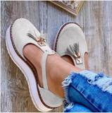 Women Vulcanize Shoes Solid Buckle Strap Fringe Cover Heel Flat Platform Heel Casual Plus Size Shoes
