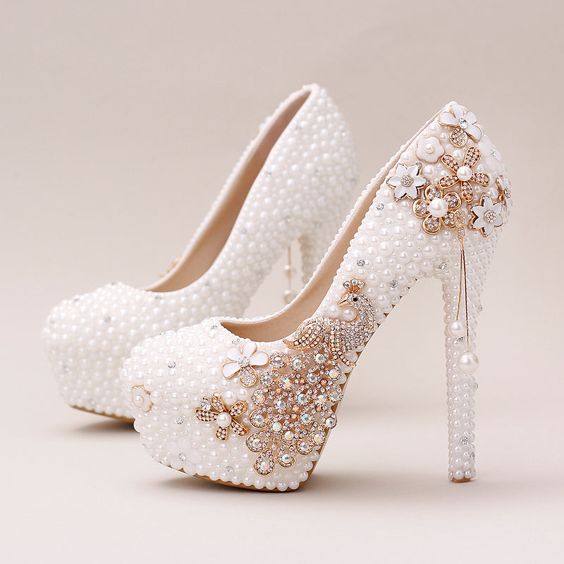 Women White Pearl Super Fine High-heeled Shoes Phoenix Bride Wedding Shoes