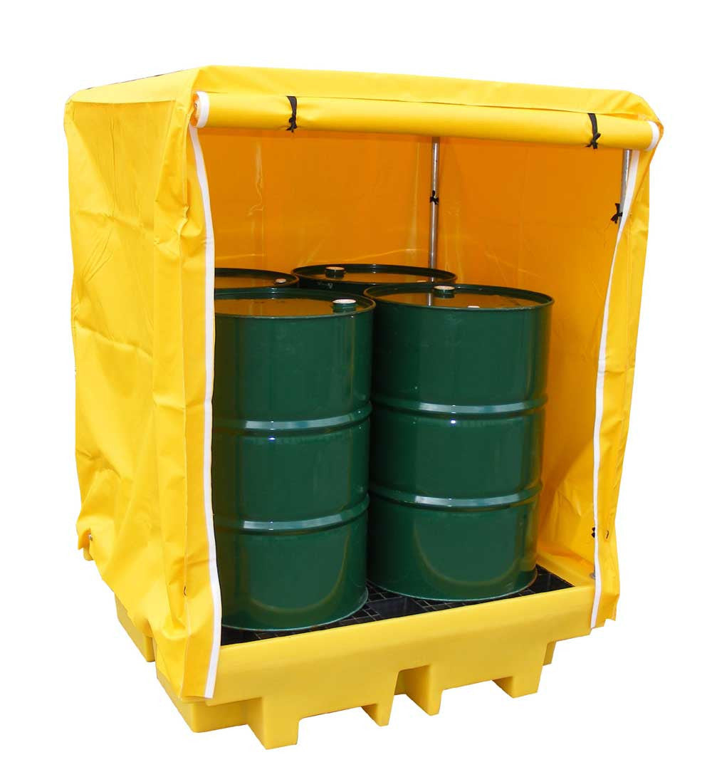 4 Drum Spill Pallet with outdoor cover - BP4C