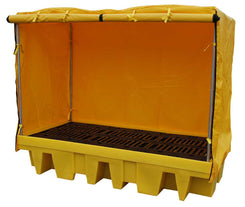 Double 1100 litre IBC Spill Pallet Bund with cover - BB2C