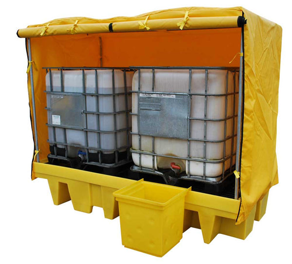 Double 1100 Litre Ibc Spill Pallet Bund With Cover Bb2c