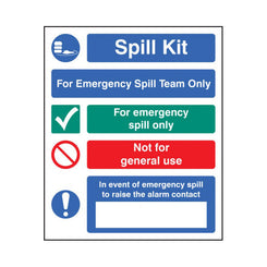 Emergency Spill Team Sign