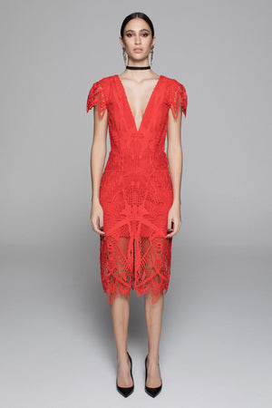 Tribal Lace Dress - Red - SPRING INTO IT SALE - NOW ONLY $199 - LAST SIZE 10