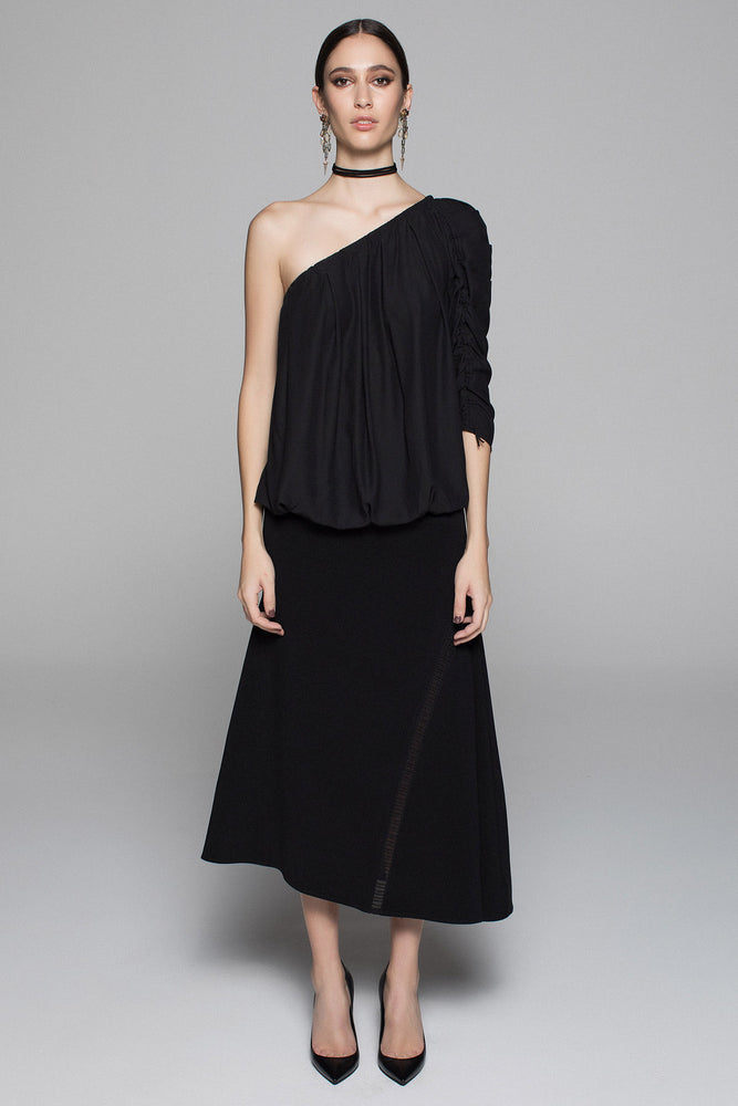 Crepe Ladder skirt - Black - FLASH SALE - 2 X SIZE 6 LEFT - ONLY $69
