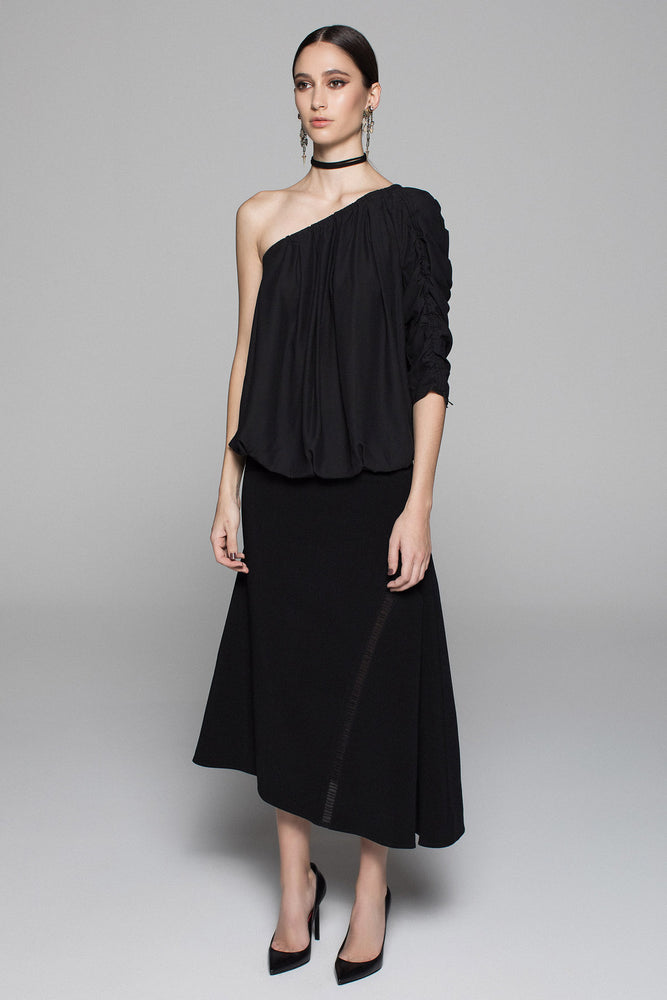 Crepe Ladder skirt - Black - FLASH SALE - NOW ONLY $49