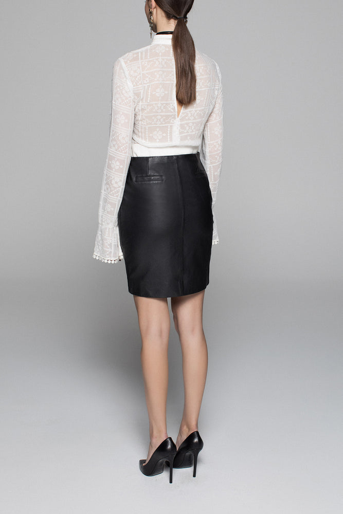 Classic Curve Leather Mini Skirt - Black - Our longer Mini - BEST SELLER - $261 Use Code DEMKIW