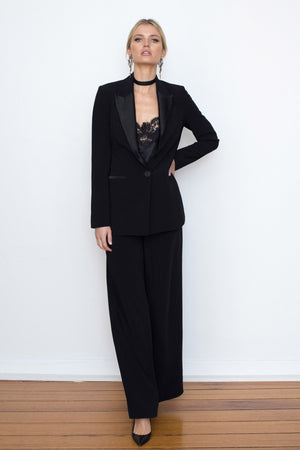 WIDE LEG CREPE TROUSER - BLACK - FLASH SALE - 1 X SIZE 8 & 1 X 12 ONLY LEFT - ONLY $119