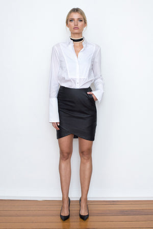 42.5 Curve Leather Mini Skirt - Black - BEST SELLER