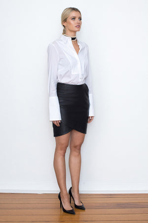 42.5 Curve Leather Mini Skirt - Black - BEST SELLER - $299 - BACK IN STOCK