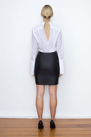 42.5 Curve Leather Mini Skirt - Taupe - New Arrival