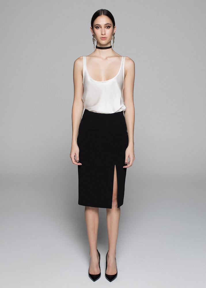 Split Front Body Con Crepe Skirt - Black - FLASH SALE - NOW ONLY $49